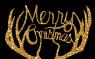 Bois de cerf en or qui écrivent Merry Christmas.